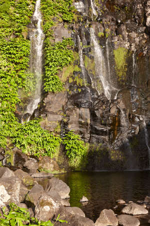 swimm: Waterfall and pool in Flores island, Azores. Poco do Bacalhau. Portugal Stock Photo