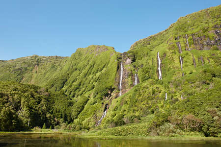 flores: Azores landscape in Flores island. Waterfalls in Pozo da Alagoinha. Portugal Stock Photo