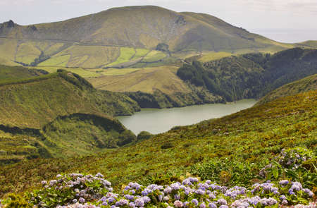 flores: Azores landscape with lake in Flores island. Caldeira Funda. Portugal. Horizontal