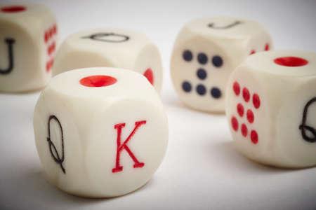 craps: Dice poker game. Craps detail in white vignetting background. Horizontal Stock Photo