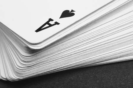 detail: Card game with ace of spades detail. Black and white. Horizontal