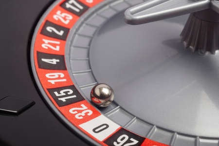 Casino roulette detail with ball in number thirty-two. Gambling. Horizontal