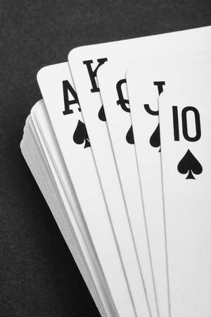 straight flush: Poker card game with ace straight flush. Black and white. Vertical