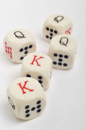 craps: Dice poker game. Craps detail in white background. Vertical