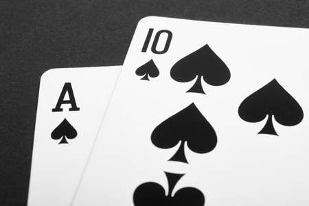 black jack: Card game with black jack detail. Black and white. Horizontal