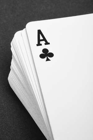 the detail: Card game with ace of club detail. Black and white. Vertical Stock Photo