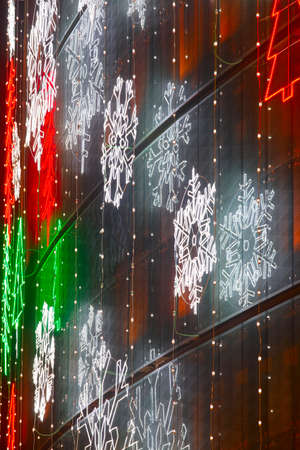 Christmas lights decoration on a building facade. Vertical 版權商用圖片 - 51267896