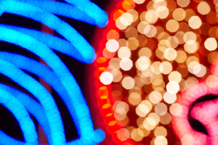 city lights: Christmas decoration background city lights. Red and blue. Horizontal