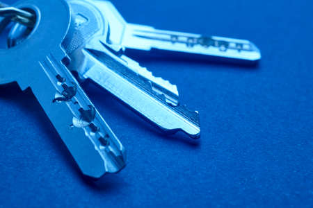 keyring: Keyring with keys in blue tone over an empty background. Horizontal