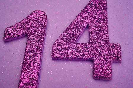 fourteen: Number fourteen purple color over a purple background. Anniversary. Horizontal