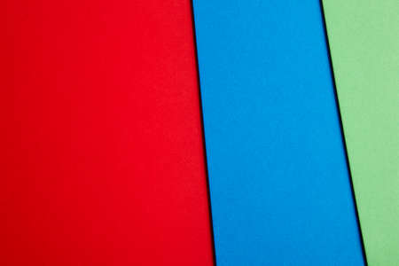 green tone: Colored cardboards background in red blue green tone. Copy space. Horizontal Stock Photo