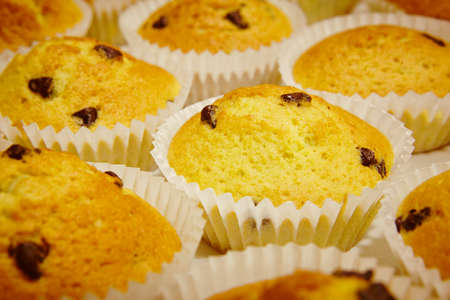 mini oven: Cupcakes with chocolate in horizontal format. Cooking background