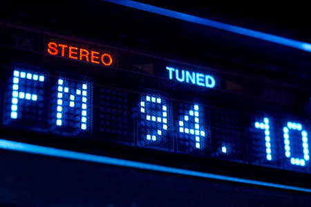 tuned: FM tuner radio display. Stereo digital frequency station tuned. Horizontal