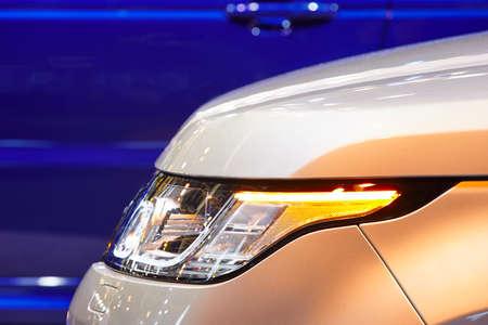 horizontal format: Cars body detail by night. Vehicle lights. Horizontal format Stock Photo