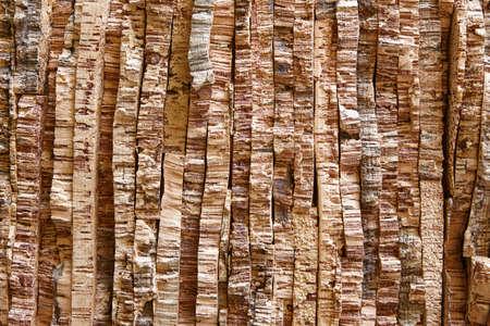 laminated: Laminated and stacked natural corks bark. Horizontal