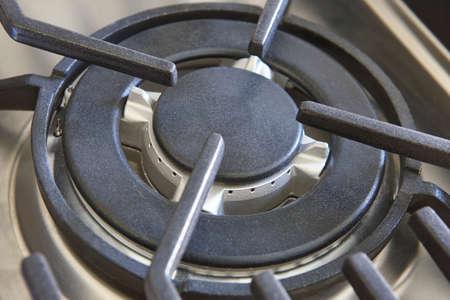 gas stove: Kitchen gas stove detail. Equipment. Horizontal format Stock Photo