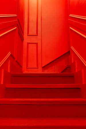 Red color home interior with stairs and wall. Decoration set. Vertical