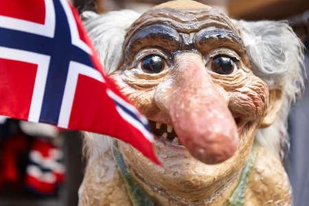 Norway. Troll head with norwegian flag. Scandinavian symbol. Horizontal