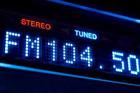 FM tuner radio display. Stereo digital frequency station tuned. Horizontal Stock fotó