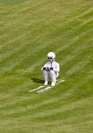 ski jump: Ski jump. Artificial track. Winter sport. Norwegian summer. Vertical