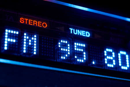 tuner: FM tuner radio display. Stereo digital frequency station tuned. Horizontal
