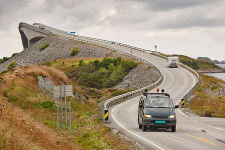 atlantic ocean: Norway. Atlantic ocean road. Bridge over the ocean. Travel europe. Horizontal Stock Photo