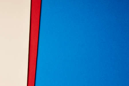 paperboard: Colored cardboards background beige red blue tone. Copy space. Horizontal Stock Photo