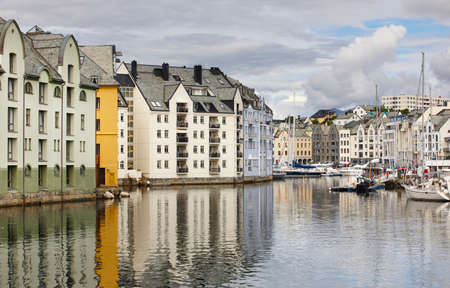 Alesund. Buidings and canal. Norwegian traditional tourist destination. Horizontal