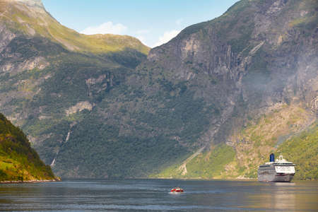 cruise travel: Norwegian fjord landscape. Cruise travel. Visit Norway. Tourism