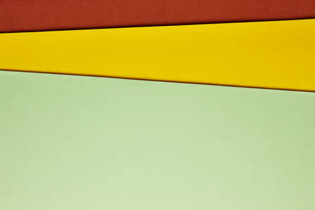 Colored cardboards background in green yellow brown tone. Copy space. Horizontal Stok Fotoğraf