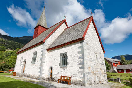 luster: Traditional antique norwegian stone church. Luster. Travel Norway. Heritage
