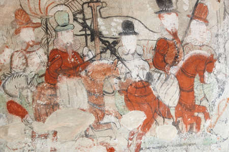 luster: Norwegian antique stone wall paintings. Dale church. Luster. Nils painter. Heritage
