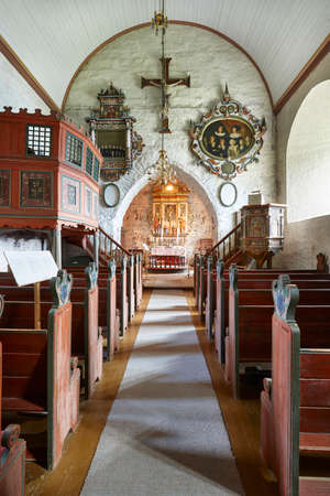 luster: Traditional antique norwegian interior stone church. Luster. Travel Norway. Heritage