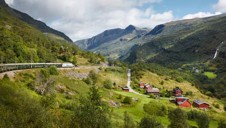 Flam railway landscape. Norwegian tourism highlight. Norway landmark. Horizontal 版權商用圖片