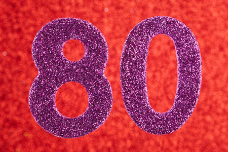 Number eighty purple color over a red background. Anniversary. Horizontal
