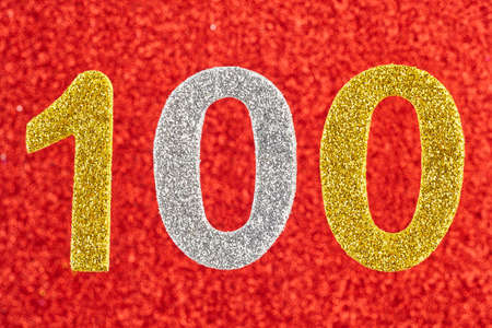 centenary: Number one hundred over a red background. Anniversary. Horizontal