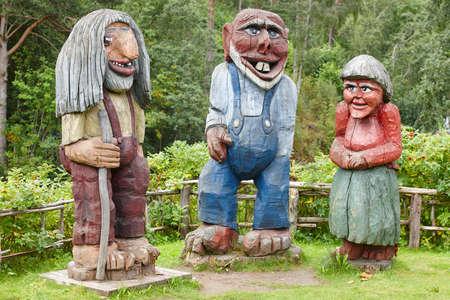 troll dolls: Norwegian carved wooden trolls. Scandinavian folklore. Norway. Horizontal Editorial