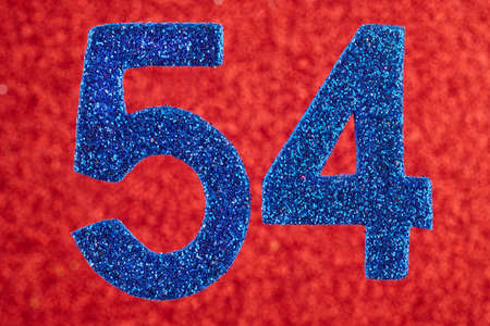 54: Number fifty-four blue over a red background. Anniversary. Horizontal