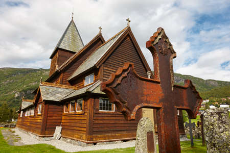 rune: Norwegian stave church. Roldal. Historic building. Norway tourism highlight. Horizontal Stock Photo