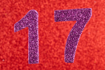 Number seventeen purple color over a red background. Anniversary. Horizontal