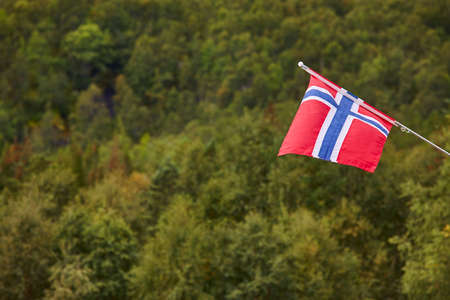 norway flag: Norwegian flag with green forest landscape background. Norway symbol. Horizontal