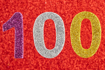 centenarian: Number one hundred over a red background. Anniversary. Horizontal