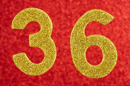 36 6: Number thirty-six yellow color over a red background. Anniversary. Horizontal