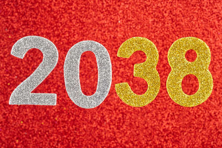 centenarian: Number two thousand and thirty-eight over a red background. Anniversary. Horizontal Stock Photo