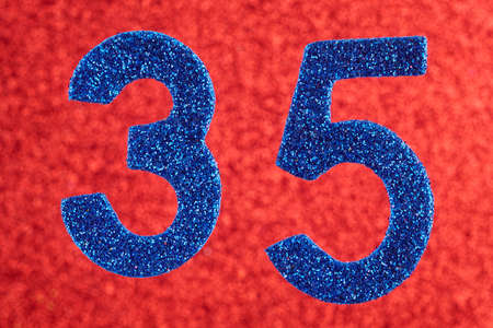 Number thirty-five blue color over a red background. Anniversary. Horizontal