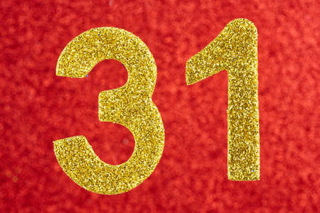 Number thirty-one yellow color over a red background. Anniversary. Horizontal