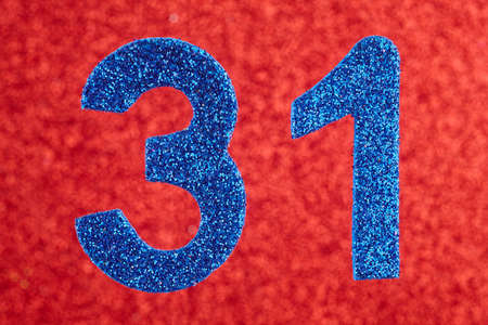Number thirty-one blue color over a red background. Anniversary. Horizontal