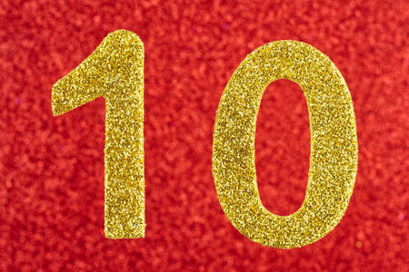 eleventh birthday: Number ten yellow color over a red background. Anniversary. Horizontal