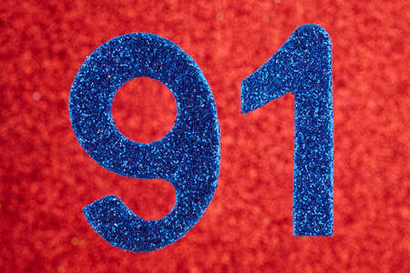 Number ninety-one blue color over a red background. Anniversary. Horizontal