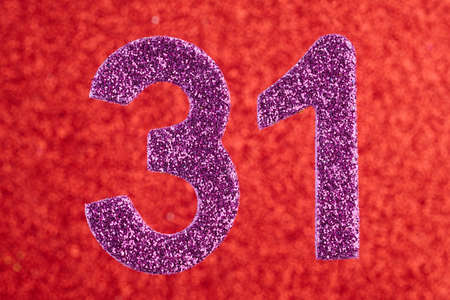 Number thirty-one purple color over a red background. Anniversary. Horizontal